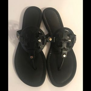 Tory Burch Miller Logo Leather Sandals Black 10